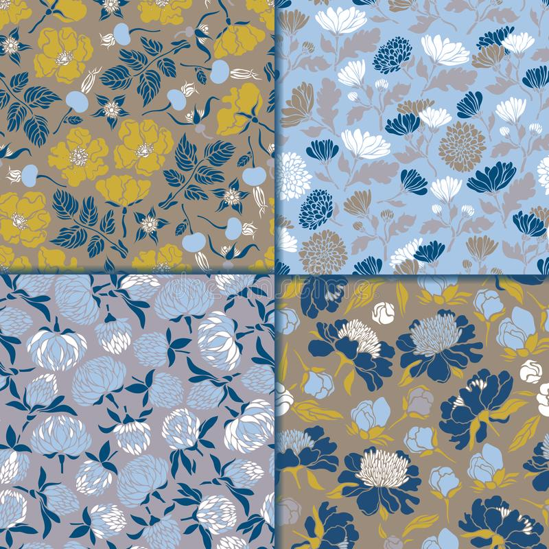 Set of seamless floral patterns. Textures with meadow flora for surfaces, paper, wrappers, backgrounds, scrapbooking. stock illustration