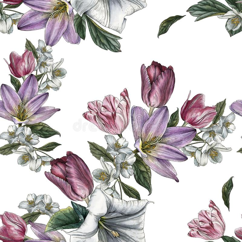 Flower seamless pattern with watercolor tulips and jasmine vector illustration