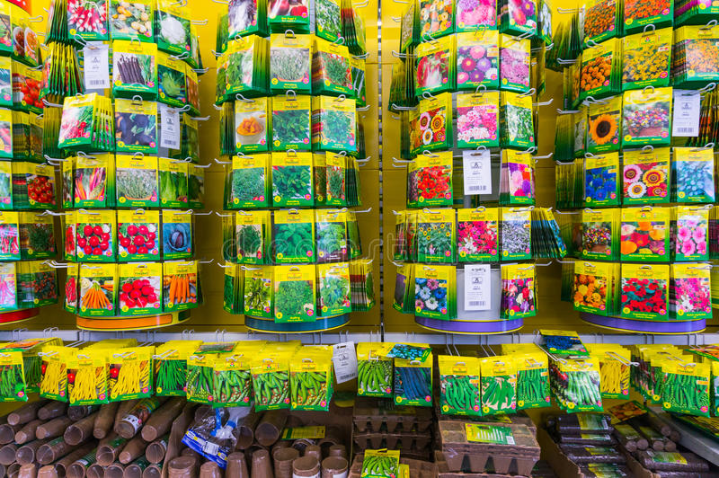 Flower seeds. Home and harden flower seeds and pots in Hornbach store, Romania stock photos