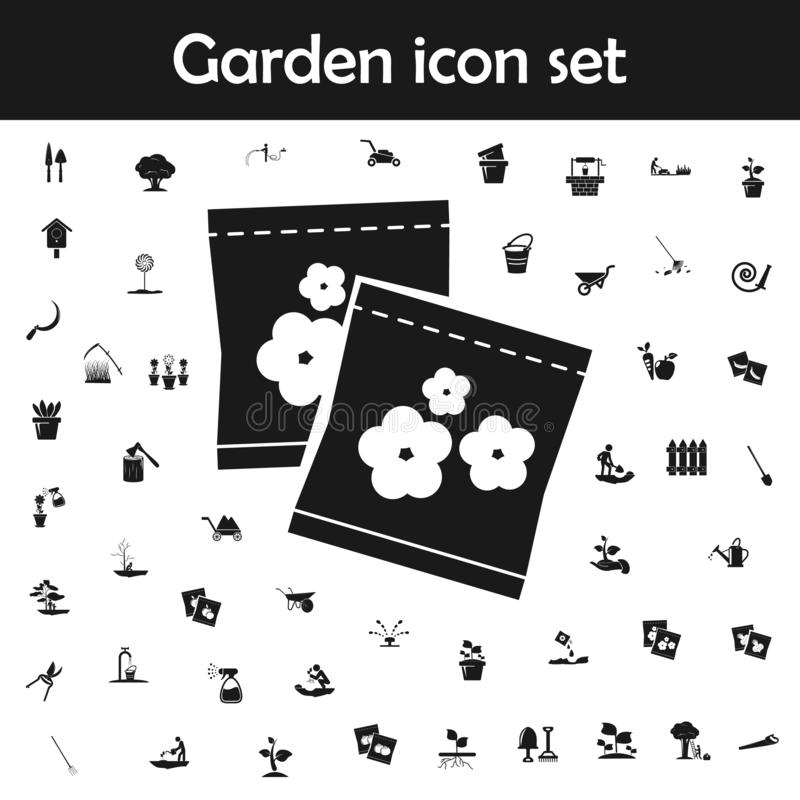 Flower seeds in packaging icon. Garden icons universal set for web and mobile. On white background royalty free illustration