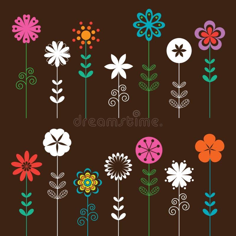 Download Flower Set stock vector. Illustration of retro, floral - 14196538