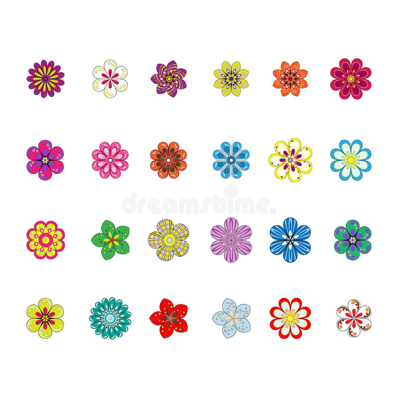 Free Flower Set Royalty Free Stock Photography - 23619847
