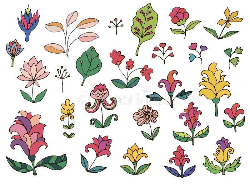 Colorful fantasy flowers set. Set of thin line doodle floral elements isolated. On white background. Vector illustration royalty free illustration