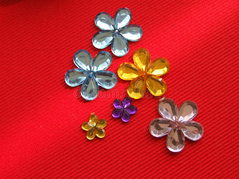 Flower shaped rhinestones stock photos