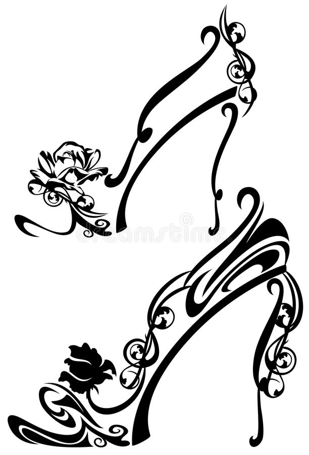 Flower shoes. Black and white high heel shoes with rose flowers - decorative vector design stock illustration