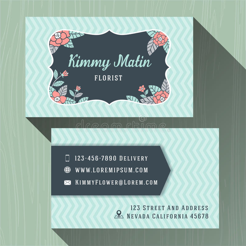 Flower Shop Business Name Cards Stock Vector - Image: 57087911