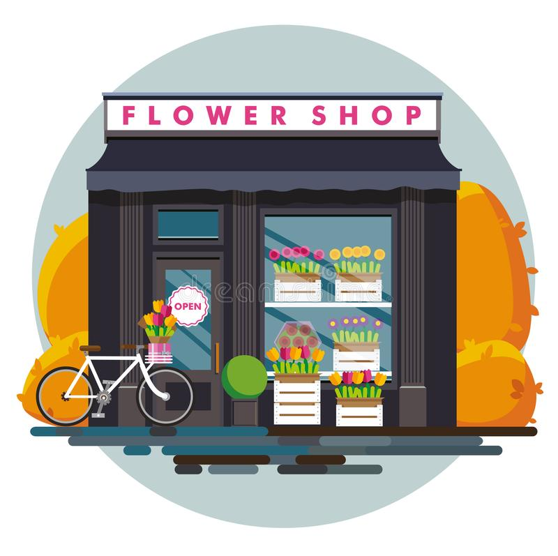 Flower shop. Facade of an . Illustration of an  in a flat style. Vector illustration Eps10 file