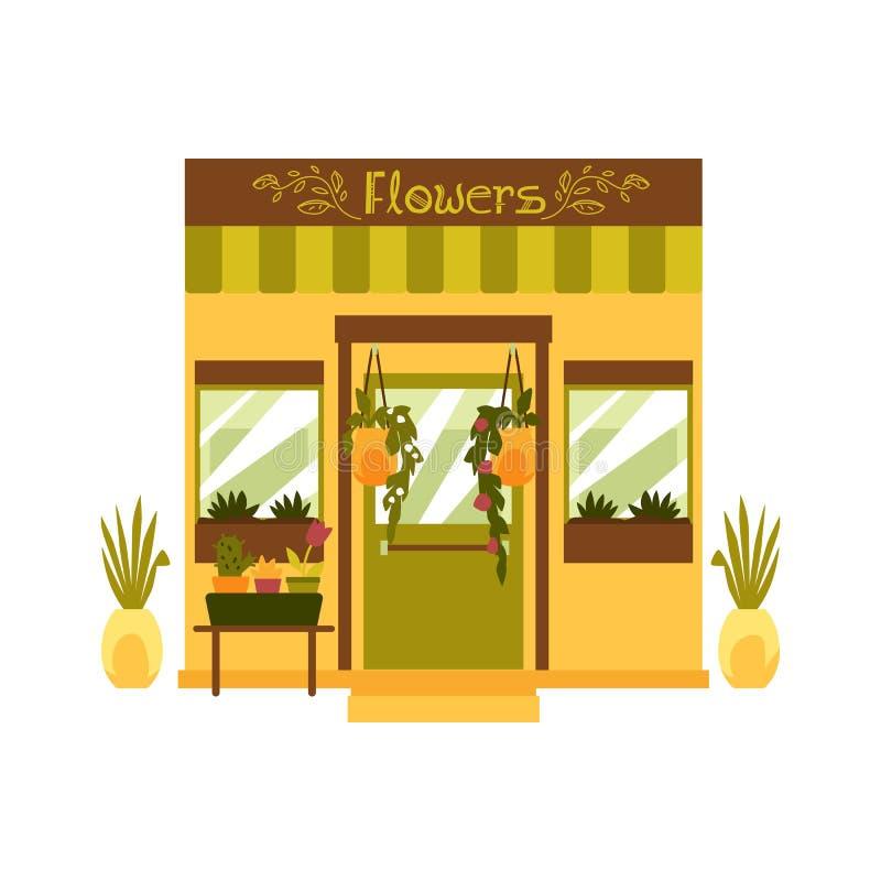 Flower shop facade isolerat på vit bakgrund - vektorbild stock illustrationer