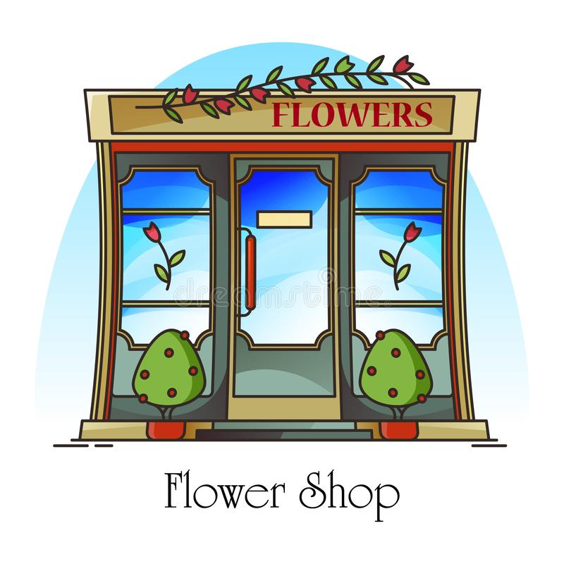 Flower shop or floral store with rose on banner. Exterior view on building facade for floral gift retail or flowerpot sale. Construction for garden items or stock illustration