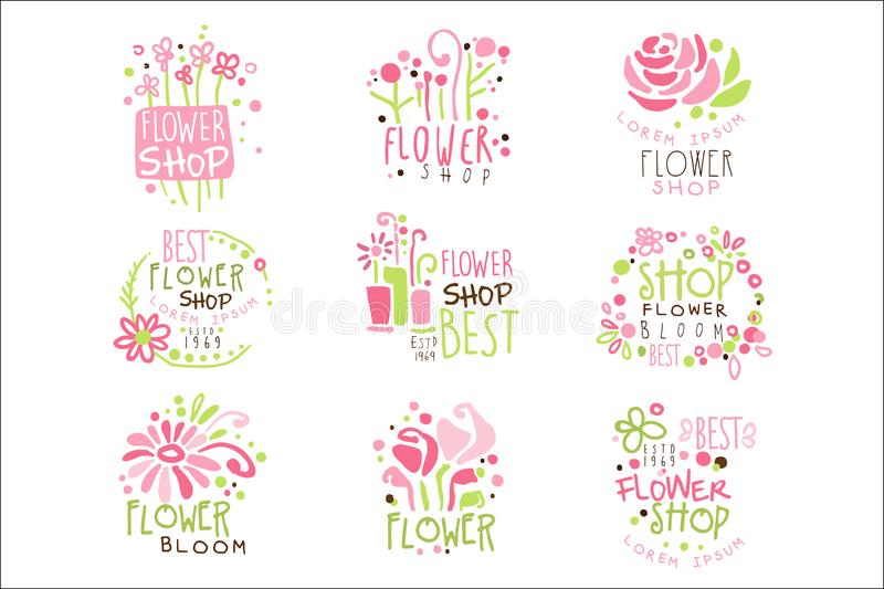 Flower Shop Green And Pink Colorful Graphic Design Template Logo Set, Hand Drawn Vector Stencils stock illustration