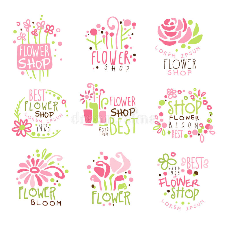 Flower Shop Green And Pink Colorful Graphic Design Template Logo Set, Hand Drawn Vector Stencils royalty free illustration