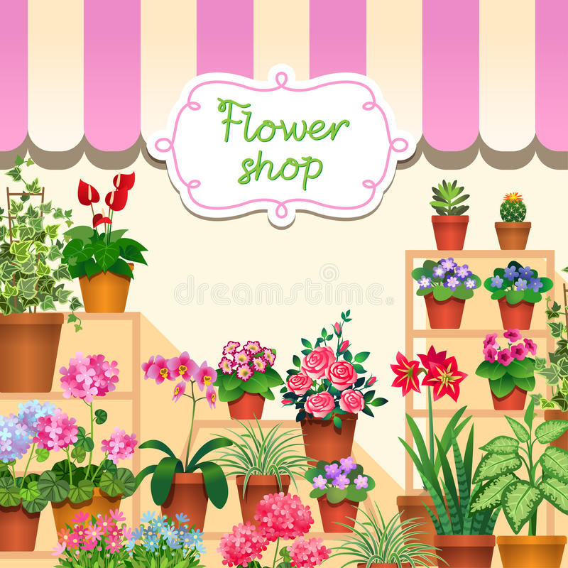 Download Flower shop stock vector. Illustration of store, houseplant - 38779314