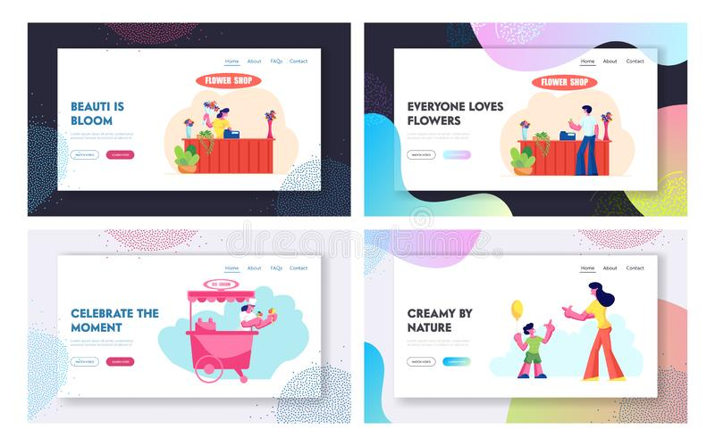 Flower Shop, Ice Cream Stall, Mother with Son Sparetime Website Landing Page Set, Man Buy Bouquet in Store, Saleswoman. In Kiosk, Happy Family Leisure Web Page royalty free illustration