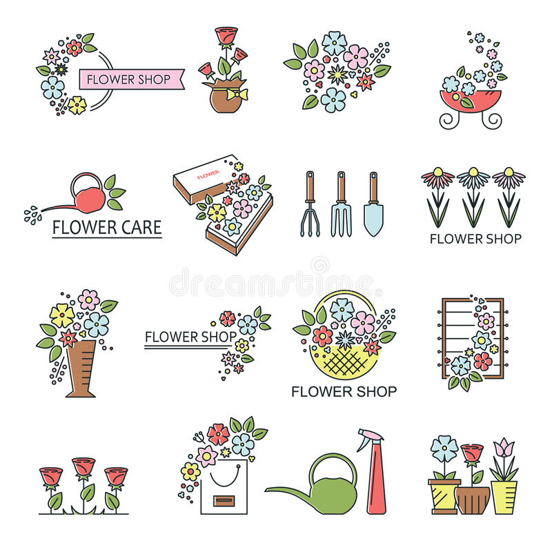 Flower Shop Icons Stock Vector
