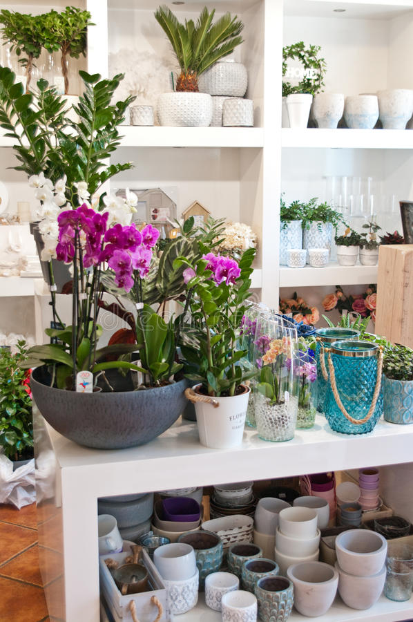 Flower shop interior. Interior of a flower shop with decorations and flowers royalty free stock photography