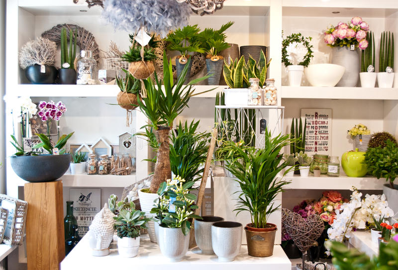 Flower shop interior. Interior of a flower shop with decorations and flowers royalty free stock images