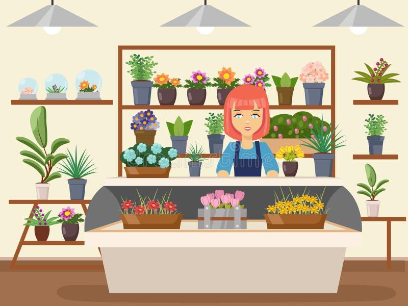 Flower shop interior green natural decorations woman florist seller cartoon design vector illustration vector illustration