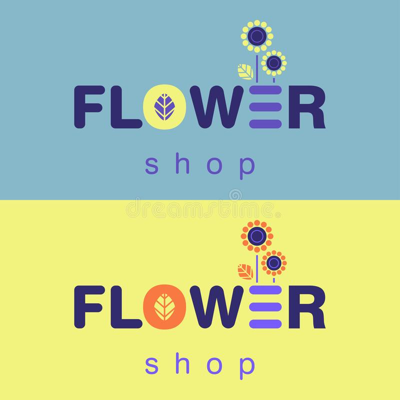 Flower shop blue and yellow logo concept royalty free stock images