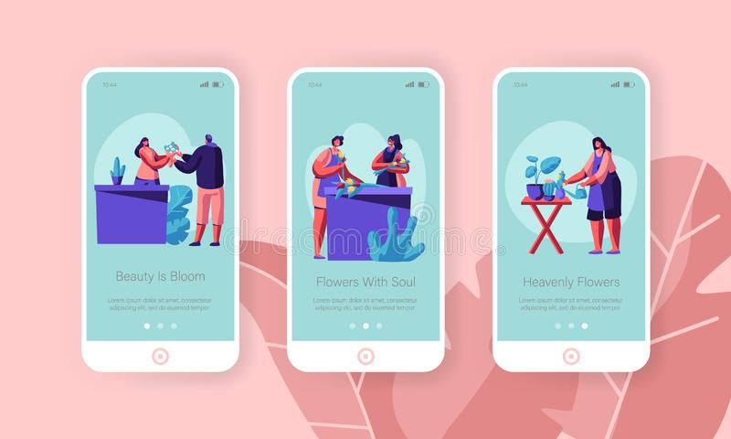 Flower Shop Mobile App Page Onboard Screen Set. Customer Visit Store to Buy Plant or Bouquet for Event, Florist Profession. Occupation Concept for Website or royalty free illustration