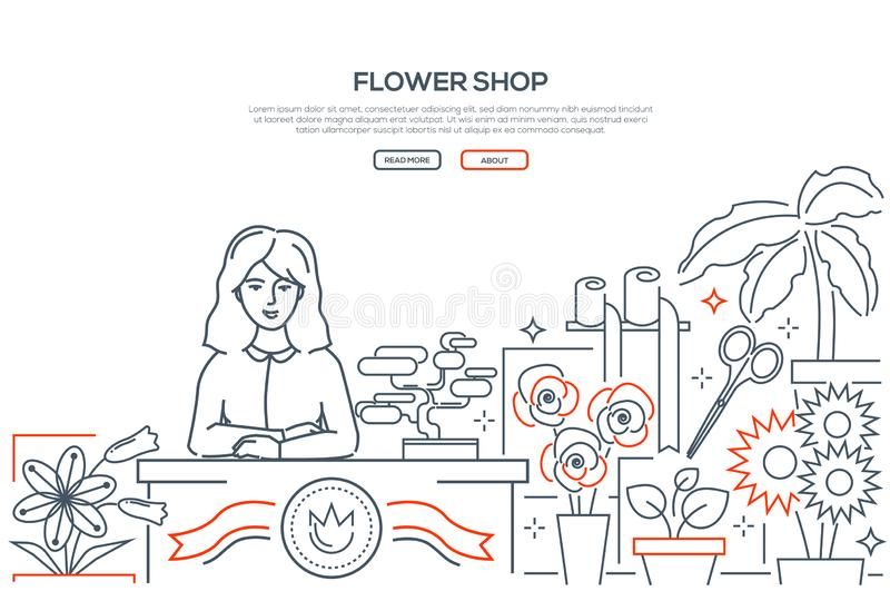 Flower shop - modern line design style web banner. On white background with place for text. High quality composition with a young smiling female florist at the royalty free illustration