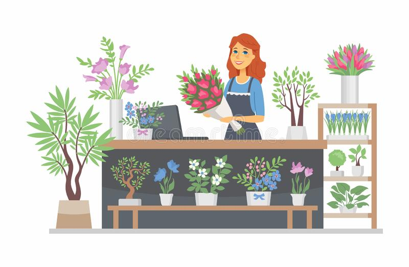 Flower shop - modern vector cartoon people characters illustration. On white background. Quality colorful composition with a young smiling female florist at the vector illustration