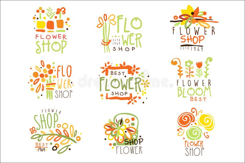 Flower Shop Red Yellow And Green Colorful Graphic Design Template Logo Set, Hand Drawn Vector Stencils vector illustration