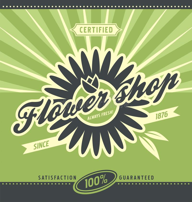 Flower shop retro poster layout. Vector banner design for florist store. Floral and gardening flyer template on green background vector illustration