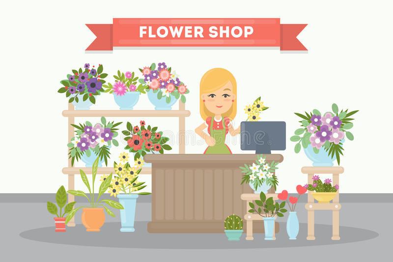 Flower shop saleswoman. royalty free illustration