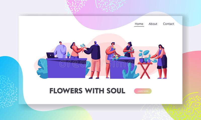 Flower Shop Stuff Caring of Plants in Pots, Making Design Compositions and Flower Bouquets for Customer. Florist Profession. Job Website Landing Page Web Page royalty free illustration