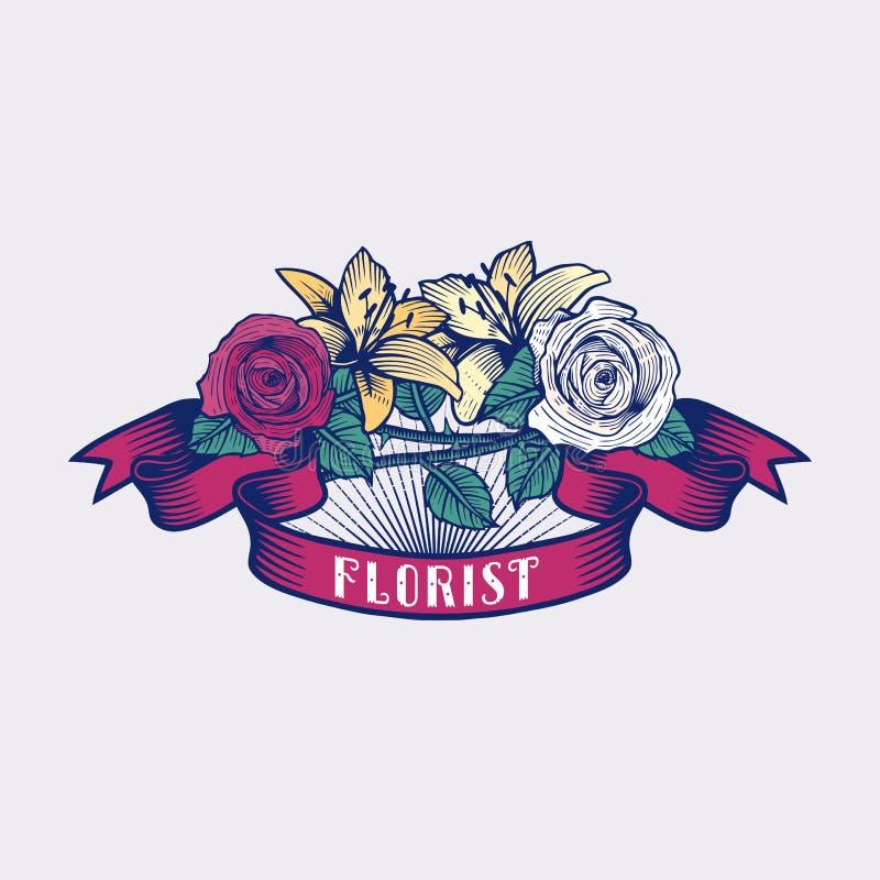 Flower Shop Vector Logo Stock Illustration