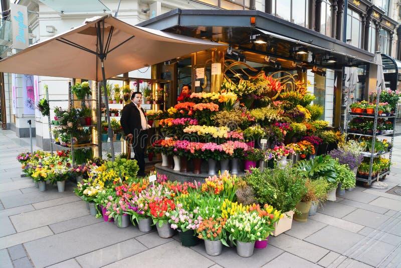 Flower shop. Vienna, Austria - April 4, 2015: A flower shop on the streets of Vienna, Austria. Shot taken on April 4th, 2015 royalty free stock photos