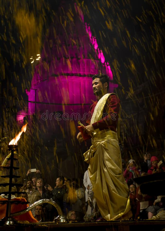 FLOWER SHOWER DURING GANGA AARTI AT DASSHASHWAMEDH GHAT royalty free stock photography