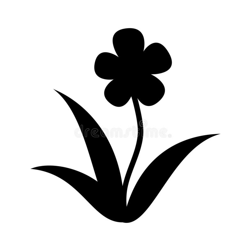 Flower silhouette icon. Vector illustration isolated on white background stock illustration