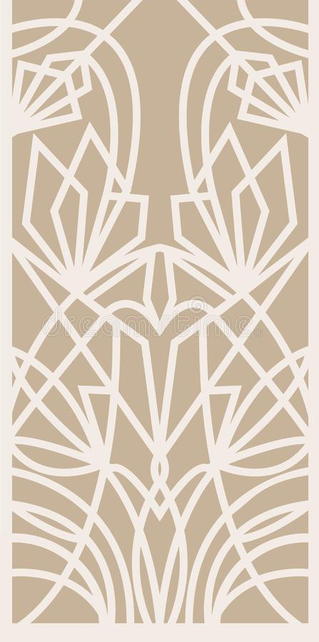 Decorative silhouette for cutting card, door, gate, window. Art Deco flowers pattern. Laser cut. vector illustration