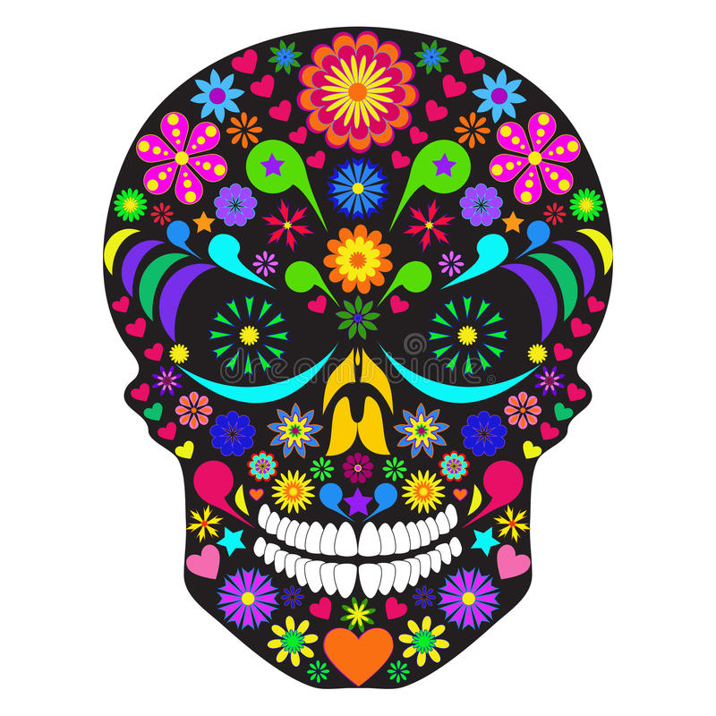 Flower skull stock illustration
