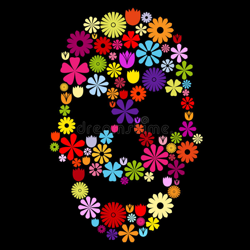 Download Flower skull in colors stock illustration. Illustration of bone - 35741399