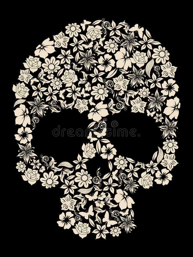 Flower skull vector. Flowers ornated human skull vector stock illustration