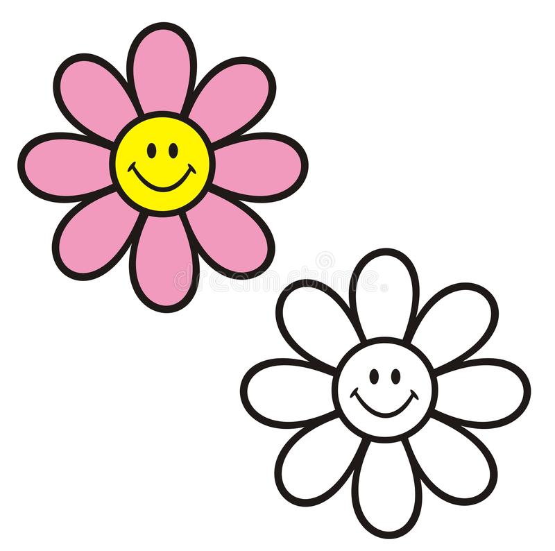 Flower with smiley face. Coloring book. stock photo
