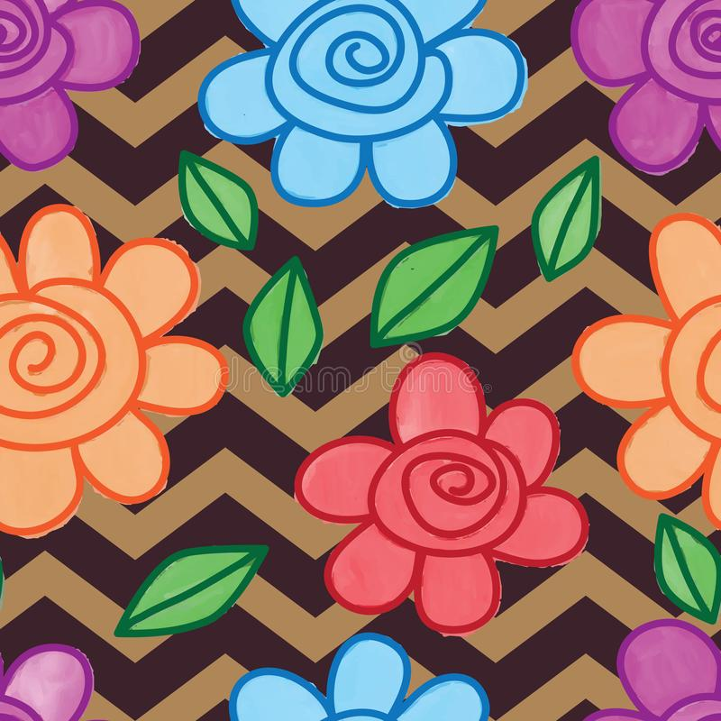 Flower snail leaf line watercolor chevron brown seamless pattern royalty free illustration