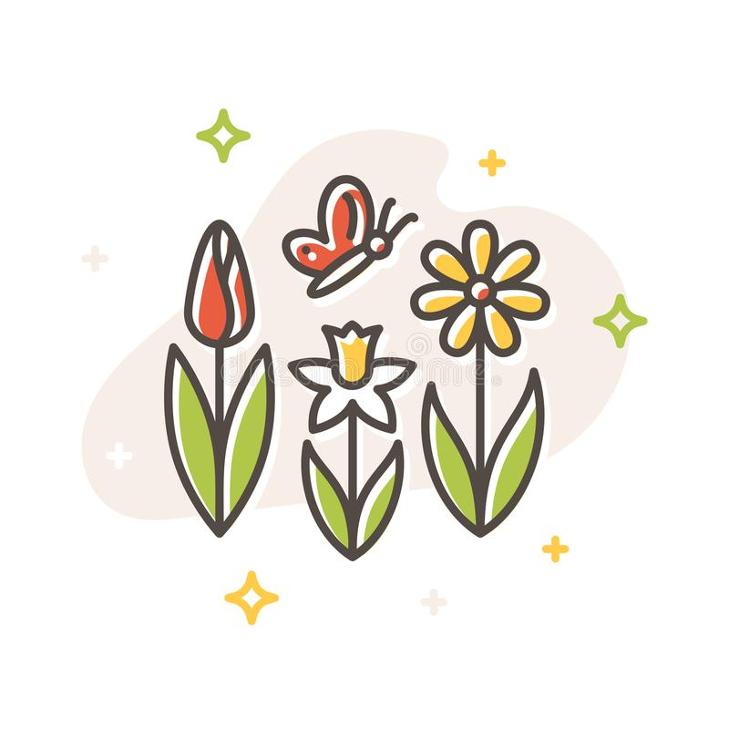 Flower spring and butterfly flat vector icon royalty free illustration