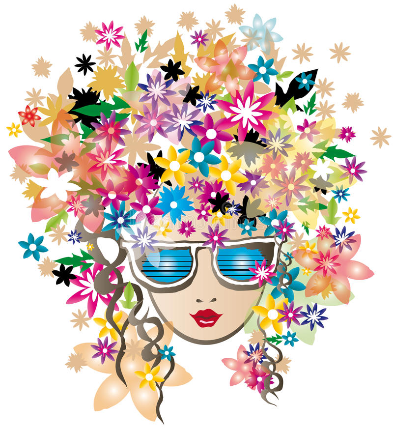 Free Flower Spring Girl With Glasses Vector Illustratio Royalty Free Stock Photography - 29638727