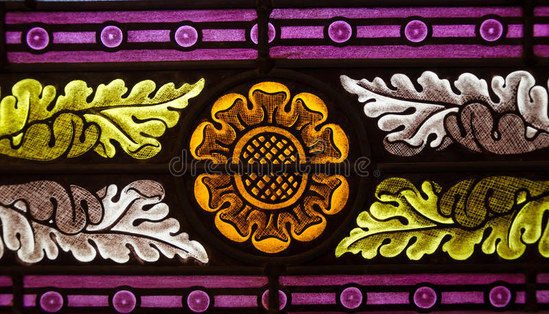 Flower stained glass. Close up of flower stained glass stock photo