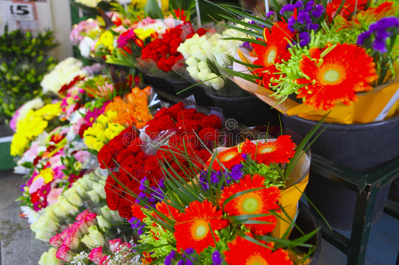 Flower stall side view stock photo