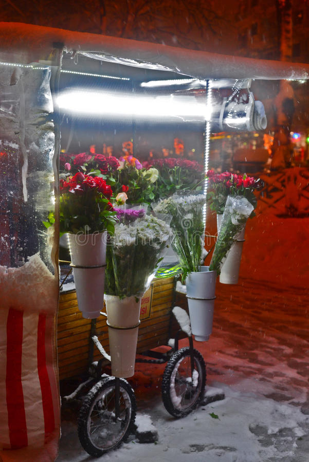 Flower stand at snowy night stock photos