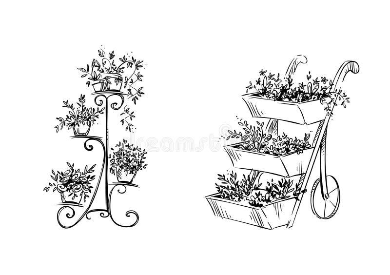 Flower stands. Vector illustration. Flower stands, hand drawn. Vector illustration royalty free illustration