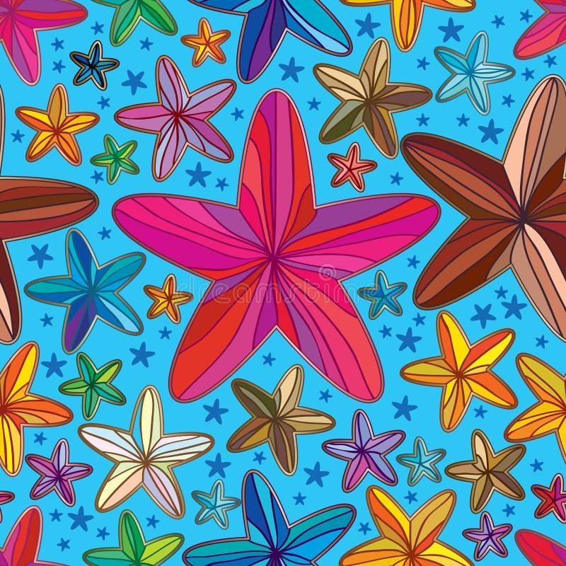 Flower star shape line draw seamless pattern royalty free illustration
