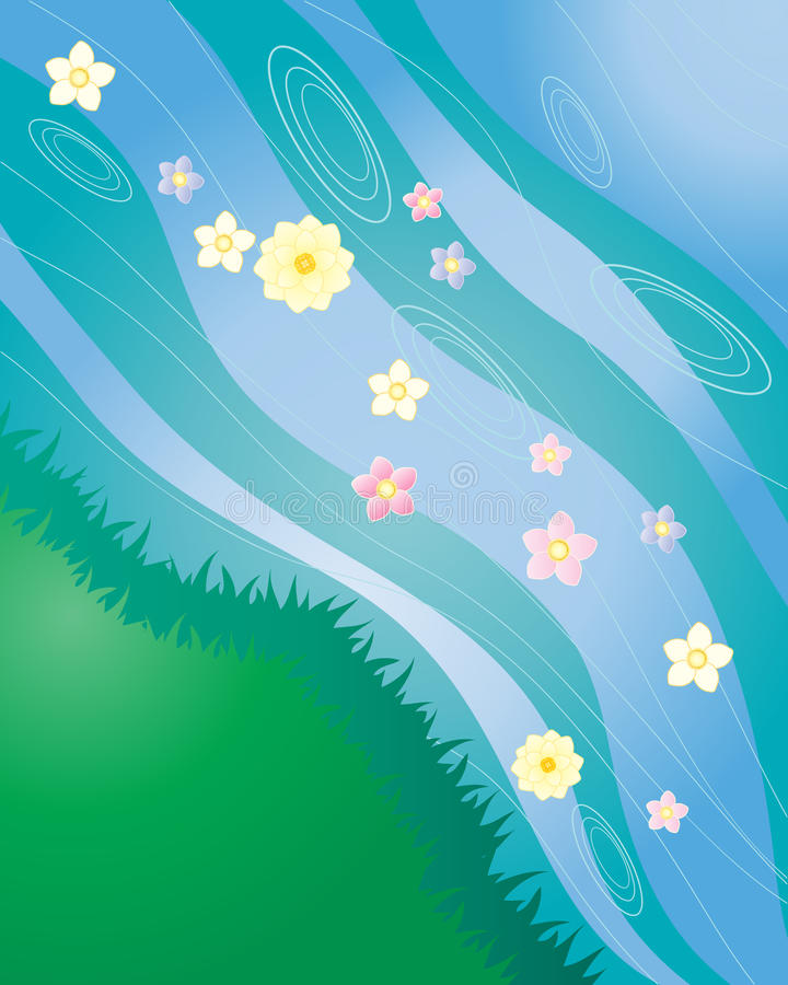 Flower stream. An illustration of a stream with grassy bank and floating flowers stock illustration