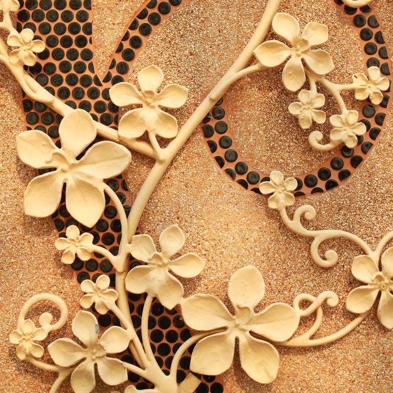 Flower stucco on wall royalty free stock image