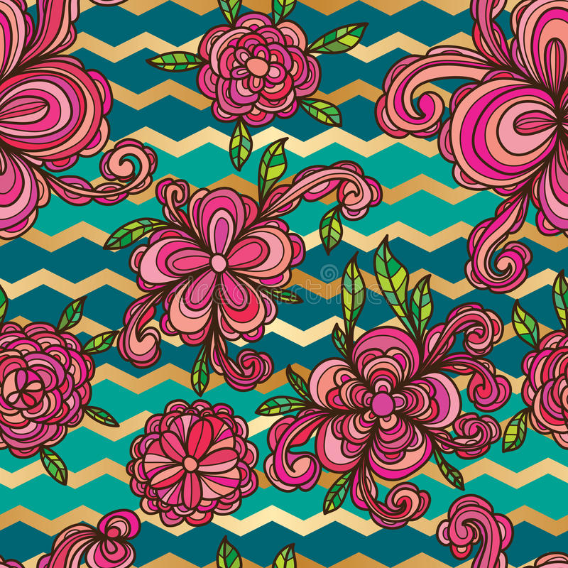 Flower style swirl Chevron seamless pattern. This illustration is drawing flower and style in Chevron on blue and green colors background with seamless pattern stock illustration