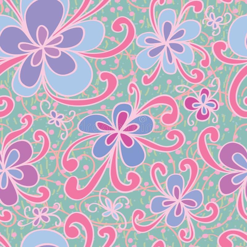 Flower style swirl seamless pattern stock illustration